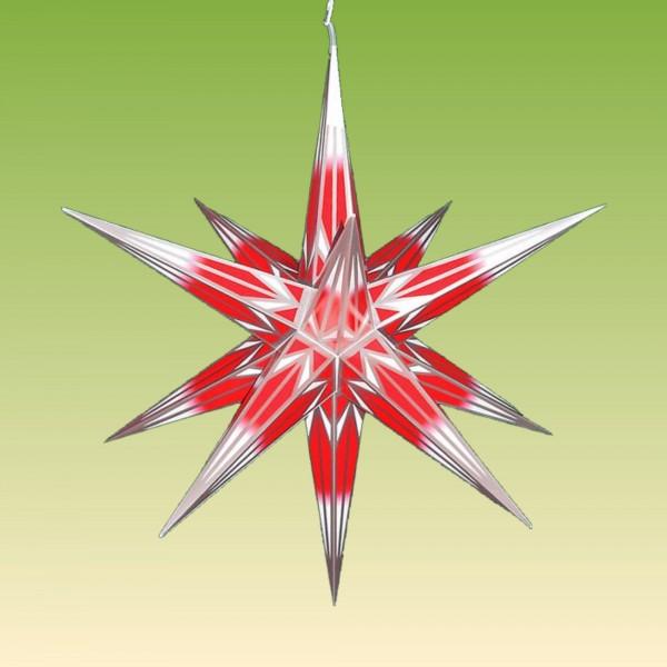 Haßlauer Adventsstern rot/weiß mit Silbermuster für außen