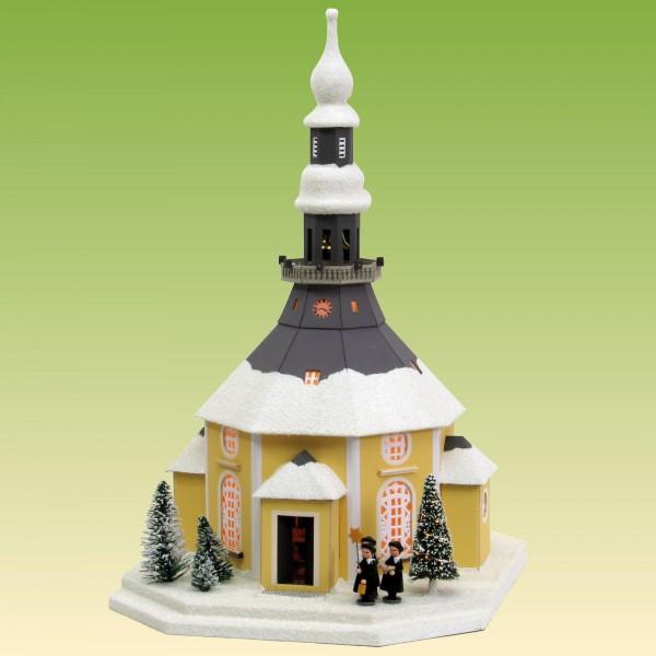 Lichterhaus Seiffner Kirche mit Weihnachtsbaum