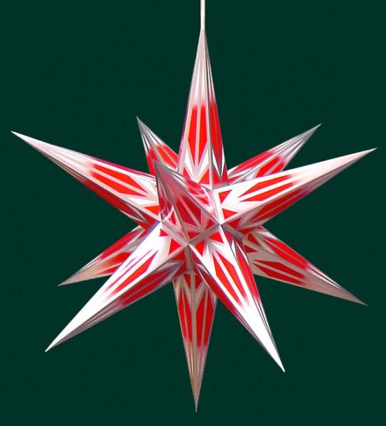 Haßlauer Adventsstern rot/weiß mit Silbermuster