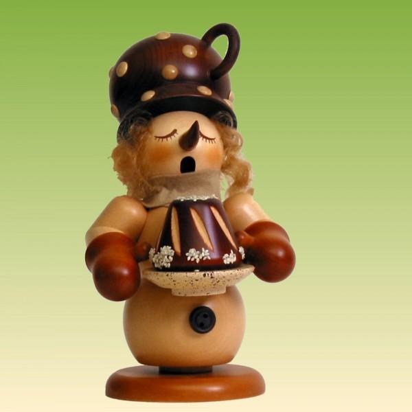 Räuchermann Schneemann mit Kuchen