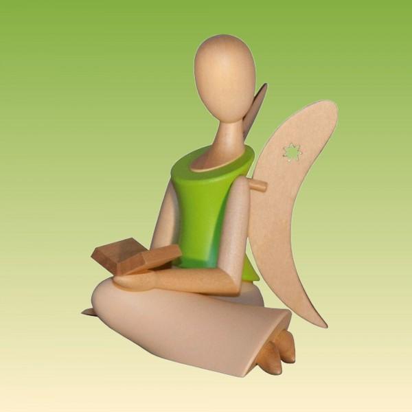 Engel sitzend mit Buch, grün