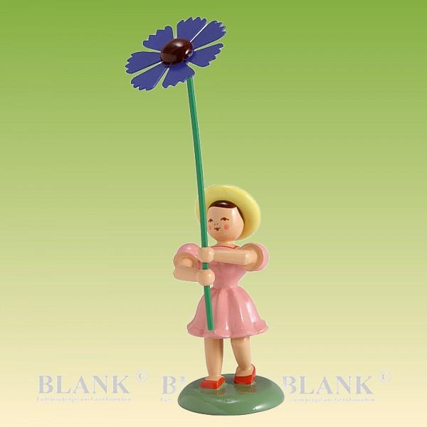 Blumenkind Mädchen mit Kornblume farbig