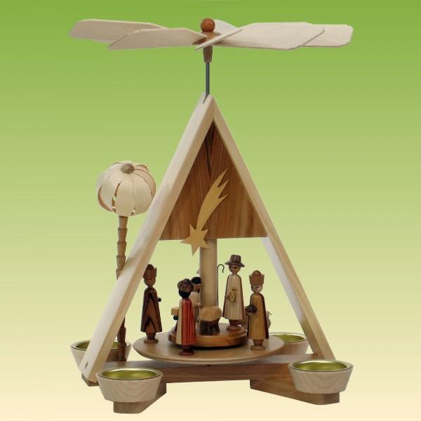 Pyramide Christi Geburt mit Palme und Teelichte
