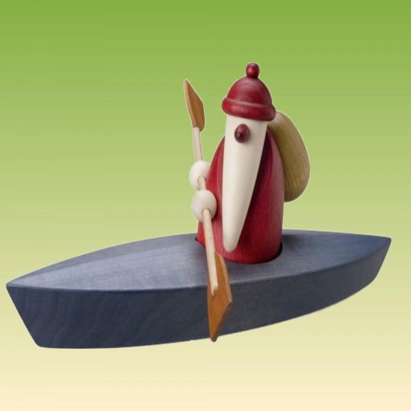 Weihnachtsmann im Paddelboot