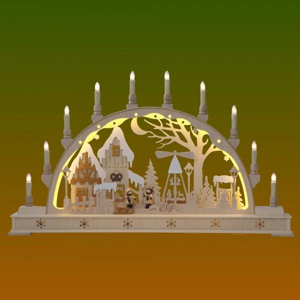 Schwibbogen Weihnachtsmarkt mit LED-Beleuchtung