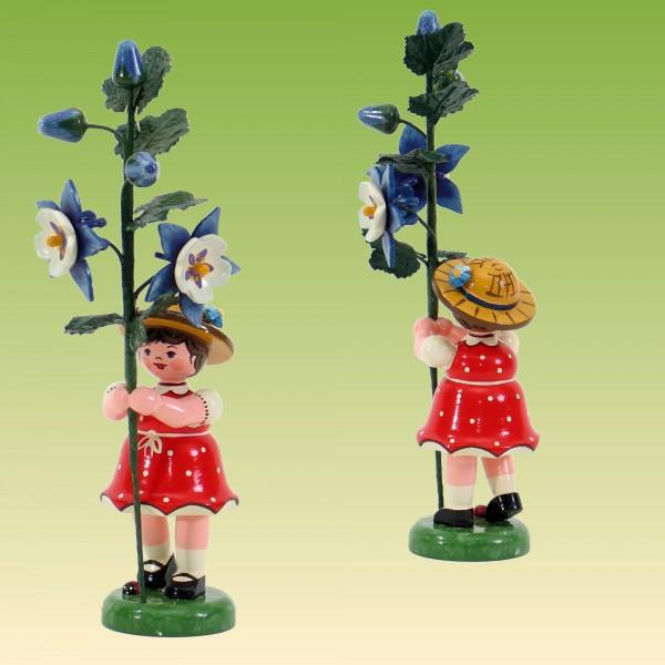 Blumenkind Mädchen mit Akelei 17 cm