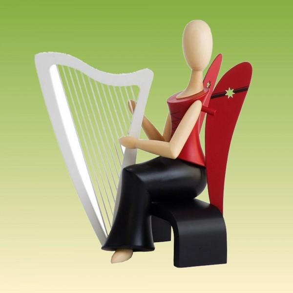 Engel sitzend mit Harfe