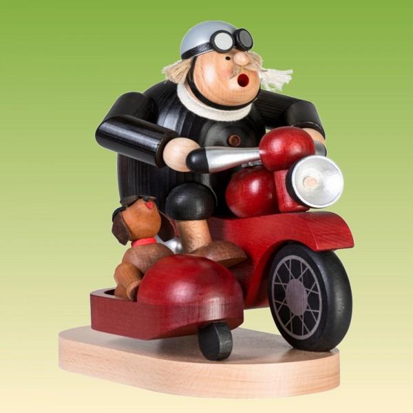 Räuchermann Motorradfahrer mit Beiwagen