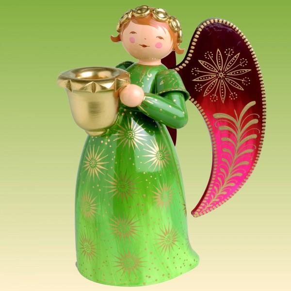Engel reich bemalt, groß, mit Lichtnapf, grün