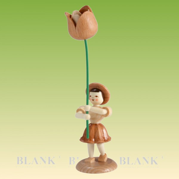 Blumenkind Mädchen mit Tulpe