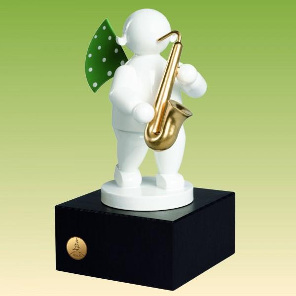 Engel mit Saxophon, auf kleinem Sockel