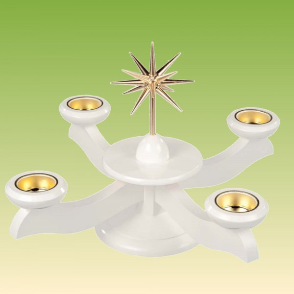Adventsleuchter weiß für Teelichter