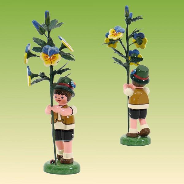 Blumenkind Junge mit Hornveilchen 17 cm