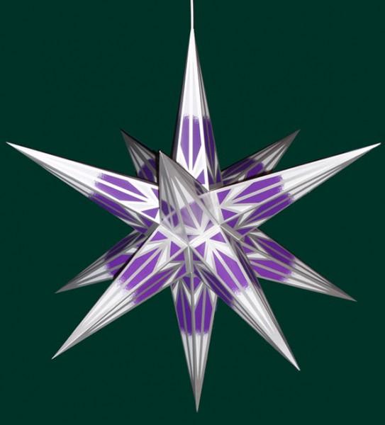 Haßlauer Adventsstern lila/weiß mit Silbermuster